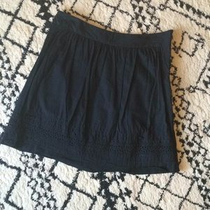 LOFT l Black Cotton Eyelet Detail Skirt.